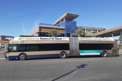 A Regional Transportation Commission of Southern Nevada bus awaits passengers Thursday, Dec. 5, ...