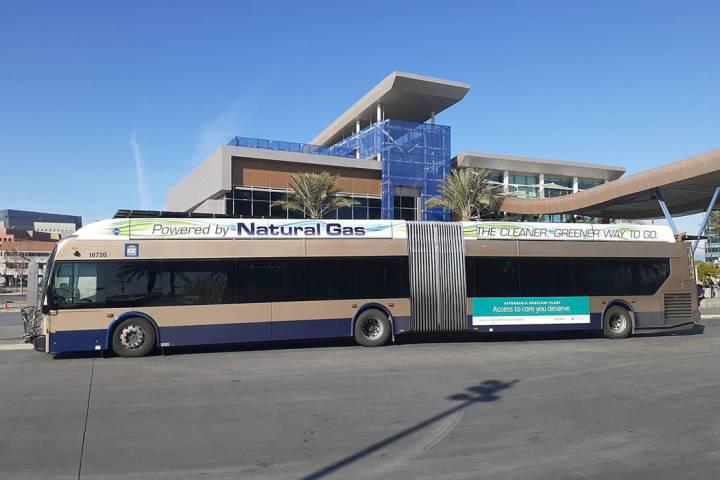A Regional Transportation Commission of Southern Nevada bus awaits passengers Thursday, Dec. 5, ...