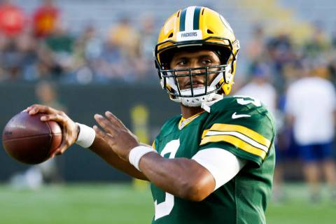 Green Bay Packers' DeShone Kizer warms up before a preseason NFL football game against the Kans ...