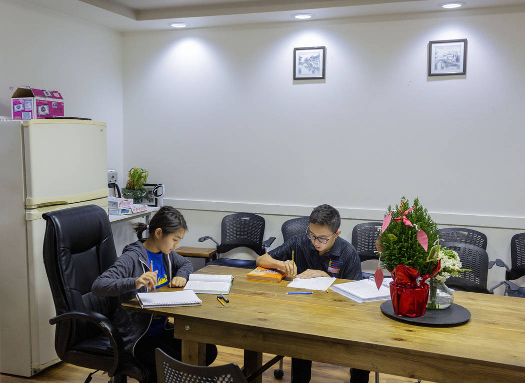 UNLV students Shenmei Wu, 13, left, and Shenlone Wu, 12, work on math proofs for fun at their p ...