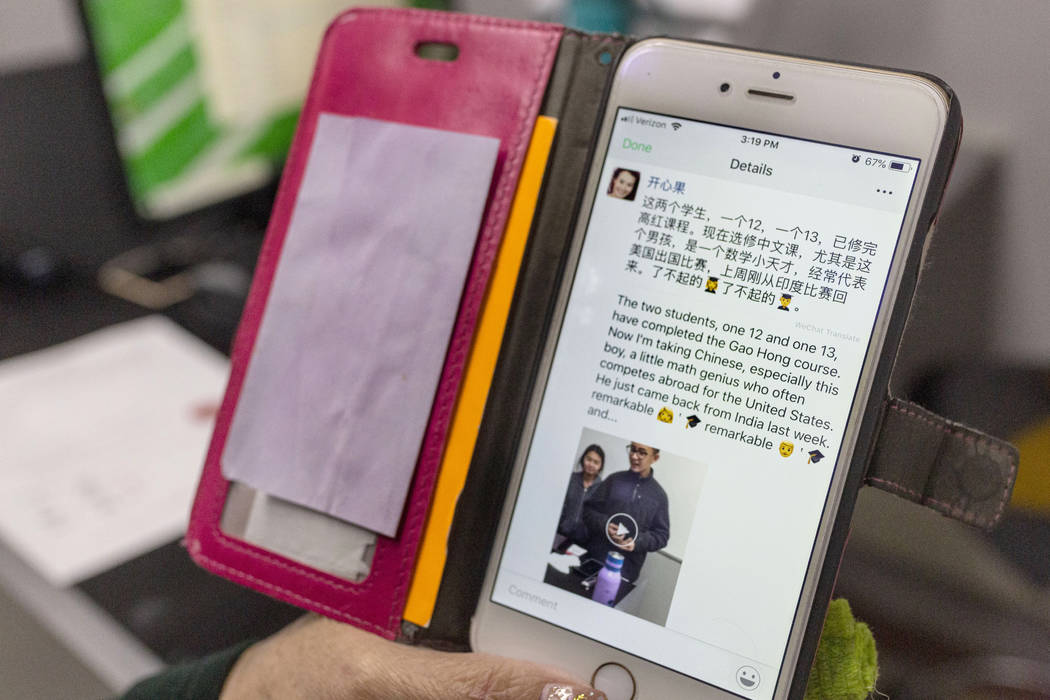 UNLV Chinese professor Xiaoling Hays shows a post she wrote regarding her students Shenmei Wu, ...