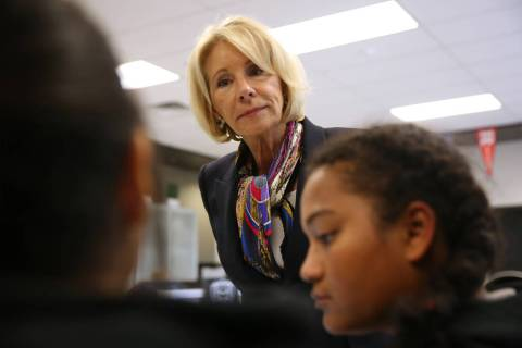 Secretary of Education Betsy DeVos. (Erik Verduzco / Las Vegas Review-Journal) @Erik_Verduzco