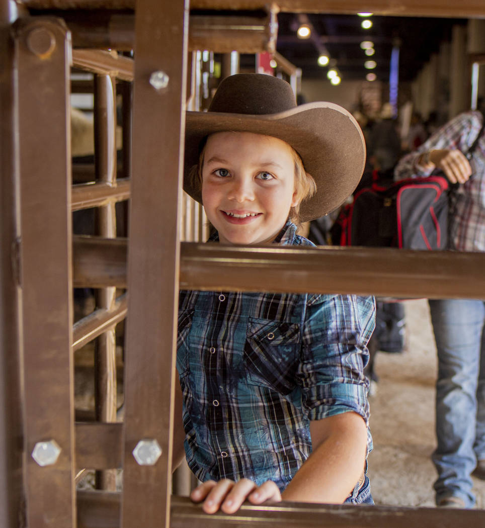 Junior bareback rider Pete Jones, 11, of Annandale, Minn., leaves the junior rodeo arena at Co ...