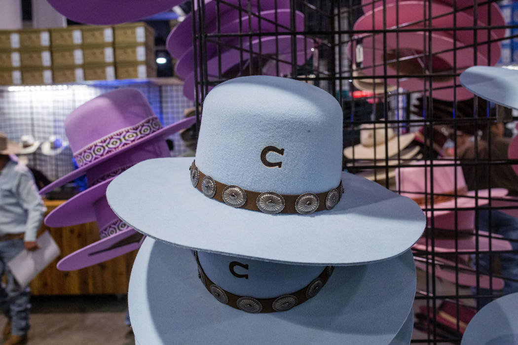 Felt hats available for purchase at the Charlie 1 Horse Hat Company booth at Cowboy Christmas a ...