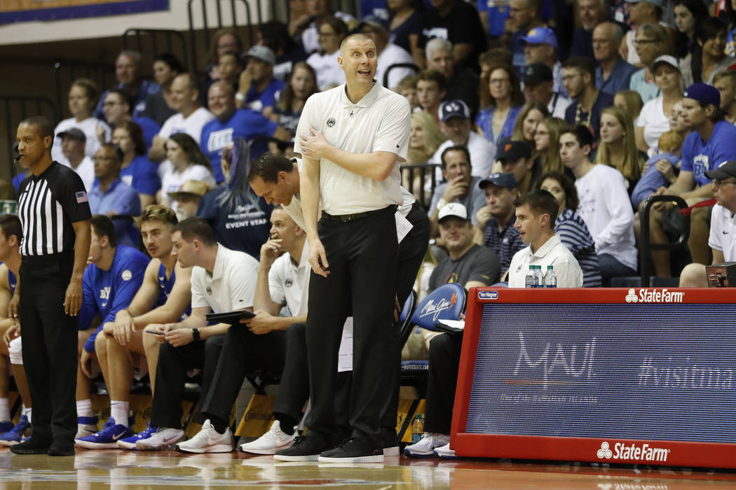 BYU head coach Mark Pope reacts on the sidelines during the first half of an NCAA college baske ...