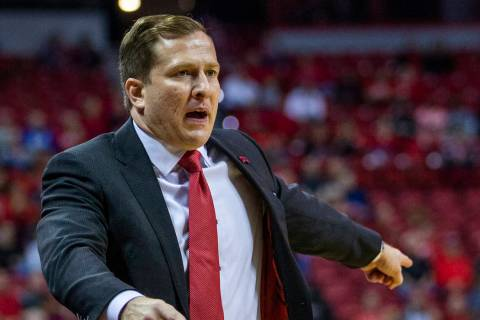UNLV Rebels head coach T.J. Otzelberger directs his players versus Purdue Fort Wayne during the ...