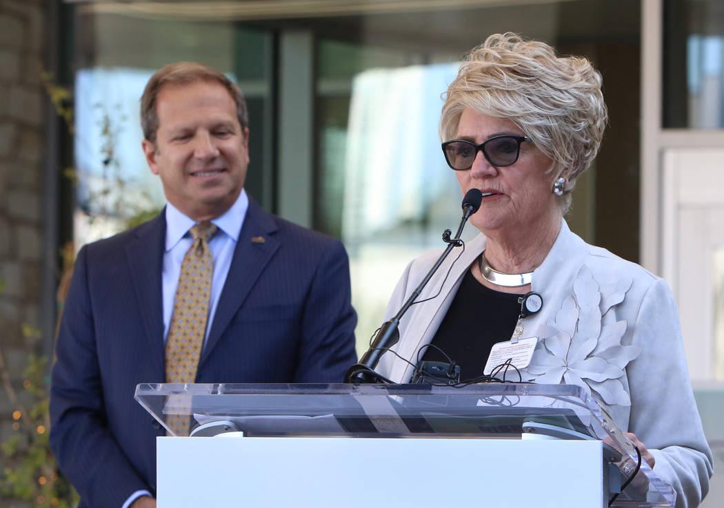 Todd Sklamberg, left, CEO, Sunrise Hospital Medical Center, listens as Sandy Miller, chairwoman ...