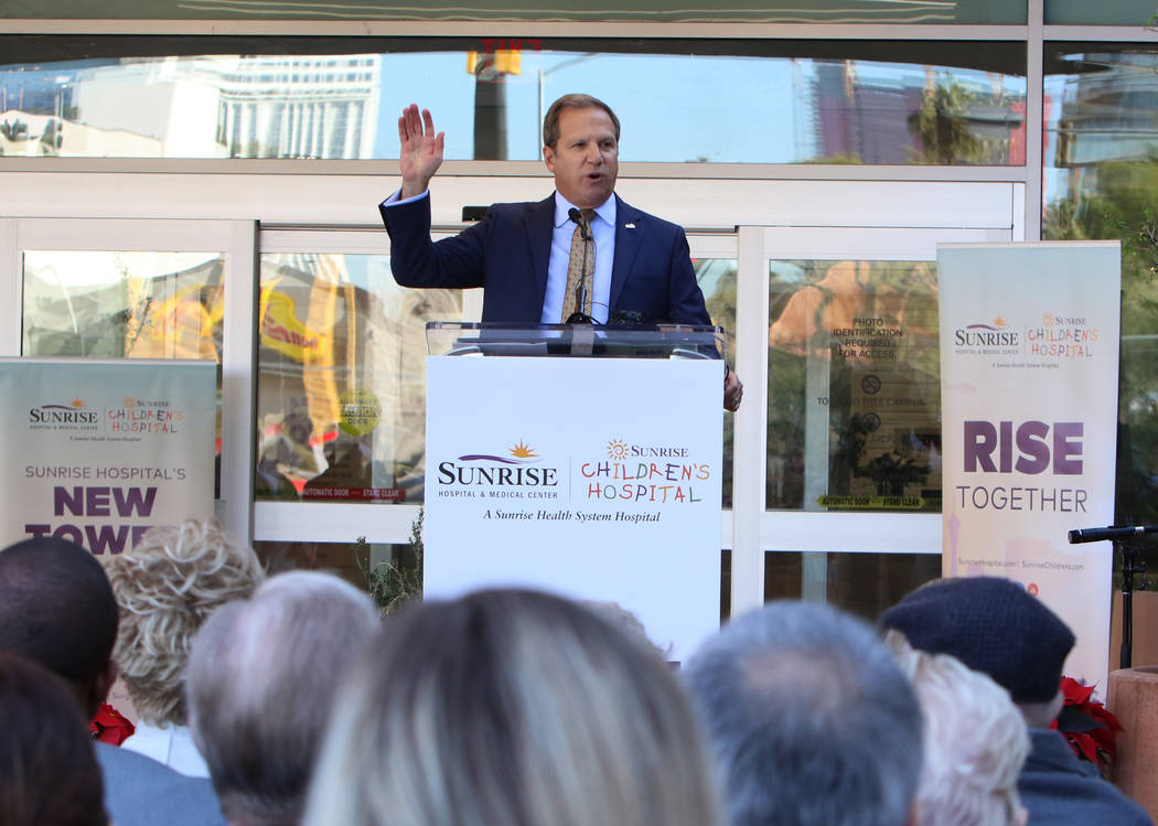 Todd Sklamberg, CEO, Sunrise Hospital Medical Center, speaks during the grand opening and ribbo ...