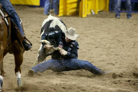 Dakota Eldridge of Elko competes in Steer Wrestling during the second go-around of the Wrangler ...