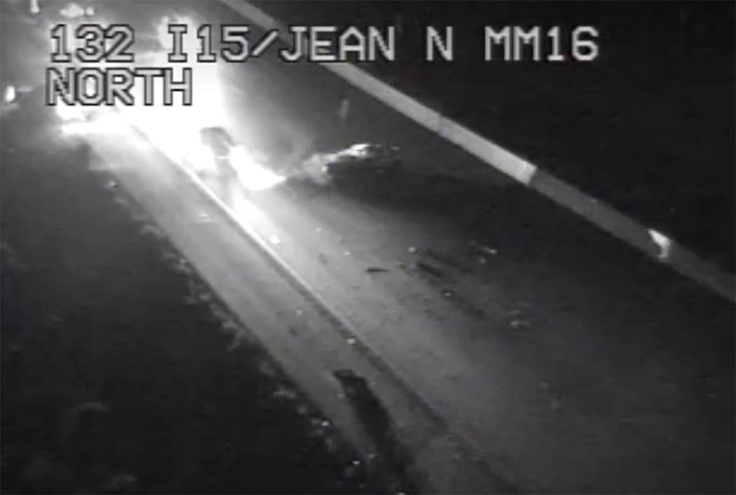 The scene of a crash in the southbound lanes of Interstate 15 near Jean on Thursday, Dec. 5, 20 ...