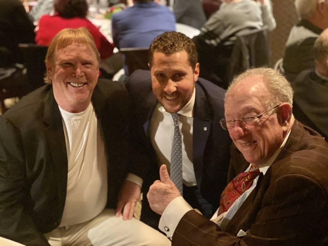 Raiders owner Mark Davis, Plaza CEO Jonathan Jossel, and former Las Vegas Mayor Oscar Goodman a ...