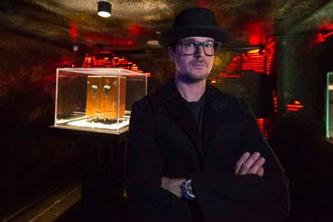 Ghost hunter Zak Bagans poses with his Dybbuk Box, known as the world's most haunted object, at ...