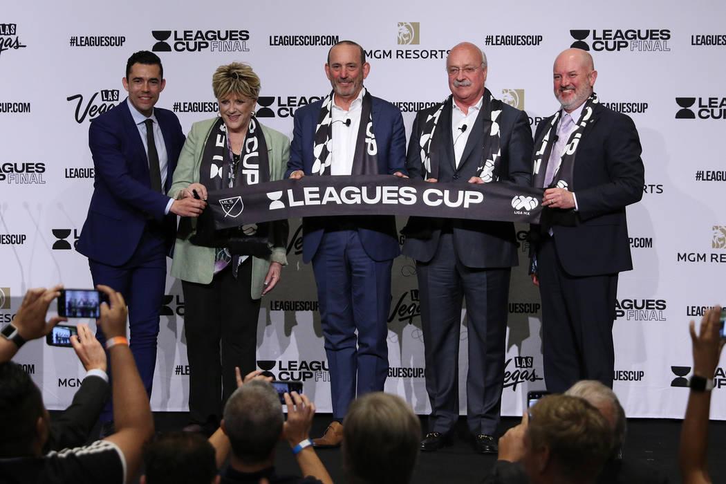 From left: Commentator Hercules Gomez, Las Vegas Mayor Carolyn Goodman, Major League Soccer Pre ...