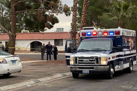 Las Vegas police investigate a homicide at a single-story apartment complex on the 3500 block F ...