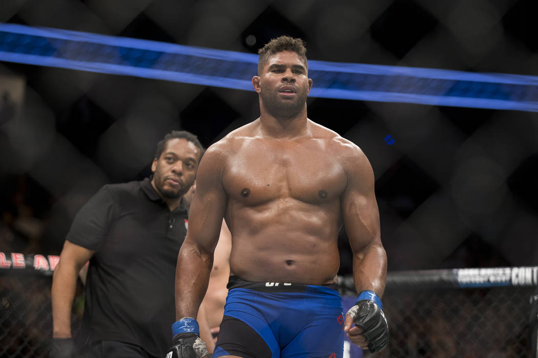 Alistair Overeem at the end of his fight against Fabricio Werdum (not pictured) in the UFC 213 ...