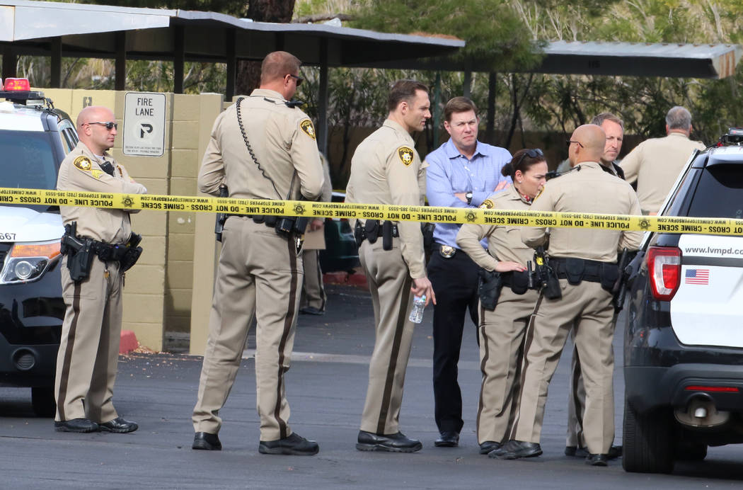 Las Vegas police investigate after a person was struck multiple times in a shooting at the Marq ...