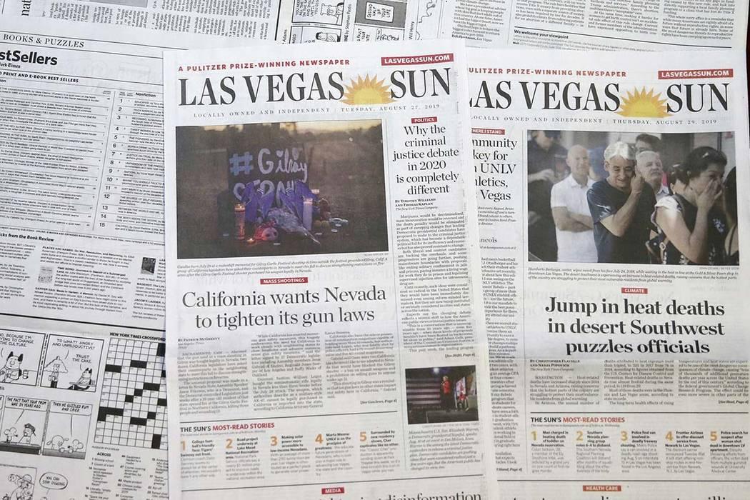 Las Vegas Sun newspapers. (K.M. Cannon/Las Vegas Review-Journal)