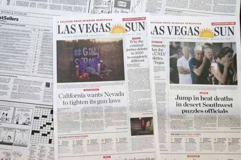 Las Vegas Sun newspapers. (K.M. Cannon/Las Vegas Review-Journal)