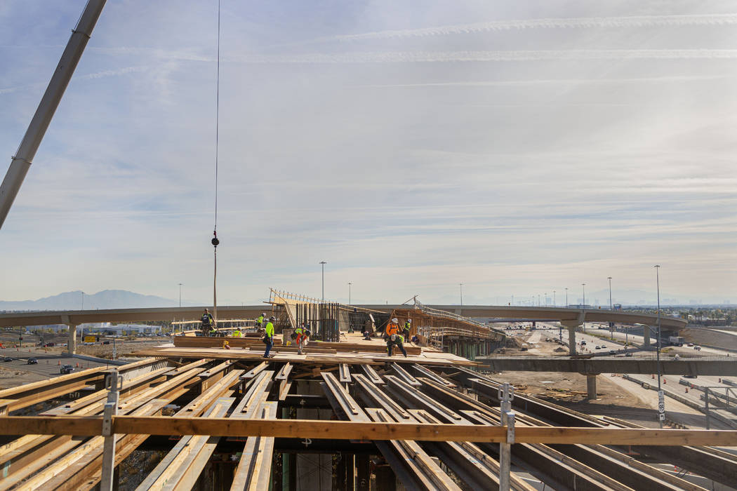 Construction continues on the Centennial Bridge linking the eastbound 215 Beltway with southbou ...