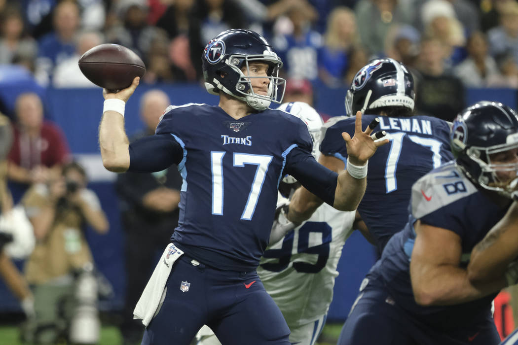 Tennessee Titans quarterback Ryan Tannehill (17) throws against the Indianapolis Colts during t ...