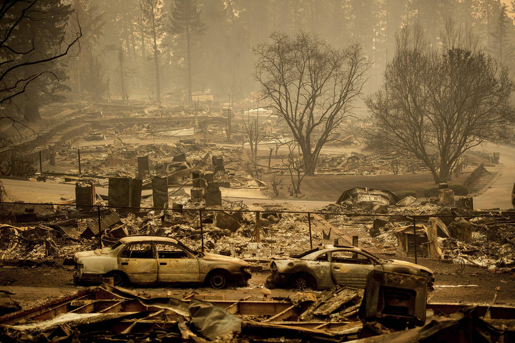 Homes leveled by the Camp Fire line a development on Edgewood Lane in Paradise, Calif., in Nove ...