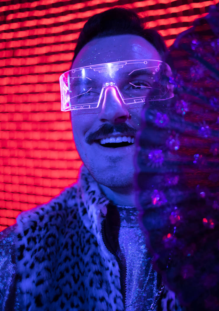 """Tanner Owens of Las Vegas poses for a portrait in his """"winter festival wear"""" at Inter ..."""