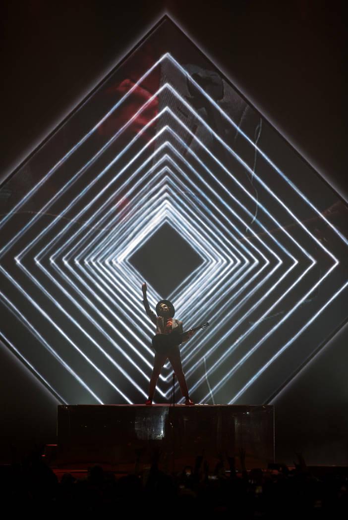 Beck performs his set at Intersect Festival on Friday, Dec. 6, 2019, in Las Vegas. (Ellen Schmi ...