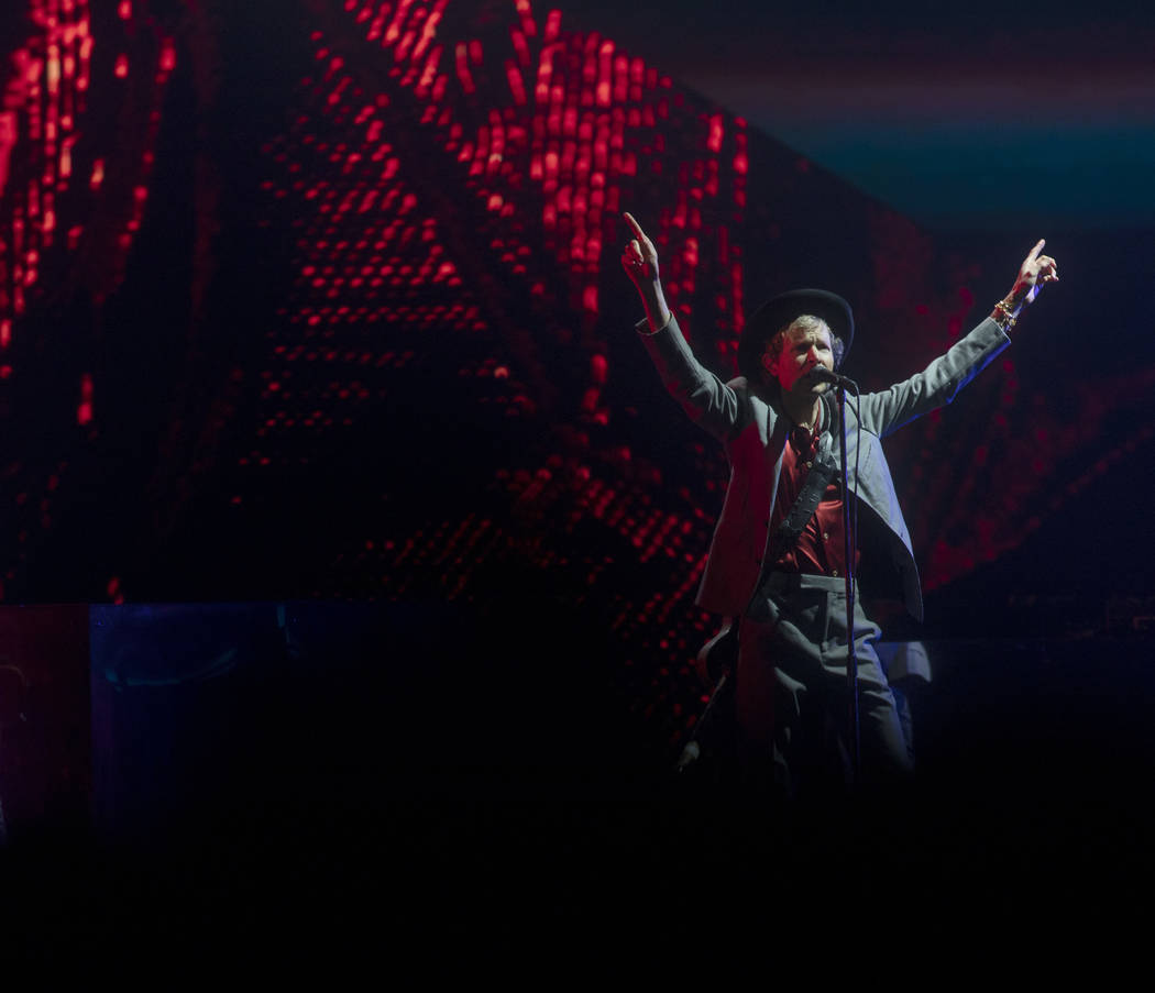 Beck invites the crowd to put their hands up at Intersect Festival on Friday, Dec. 6, 2019, in ...