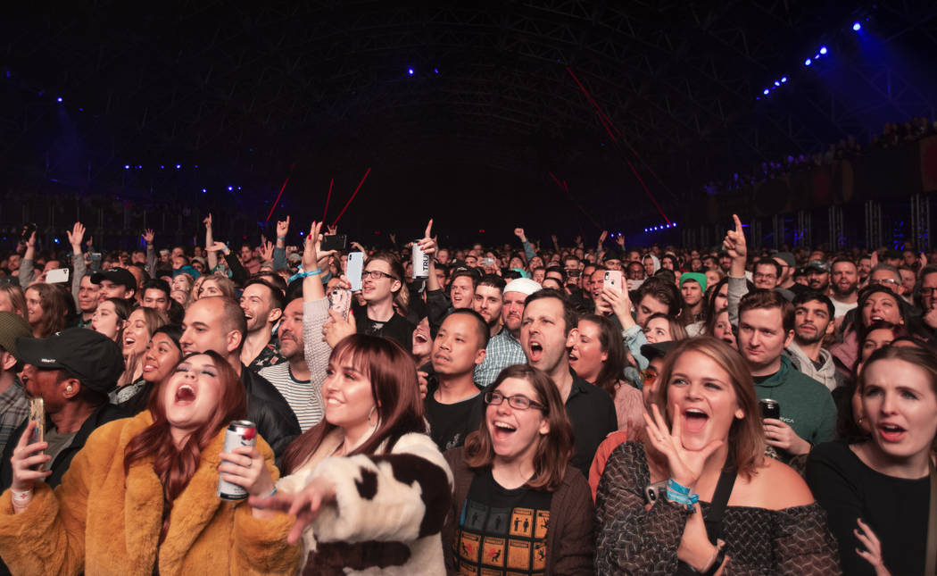 The crowd goes wild for Kacey Musgraves at Intersect Festival on Friday, Dec. 6, 2019, in Las V ...