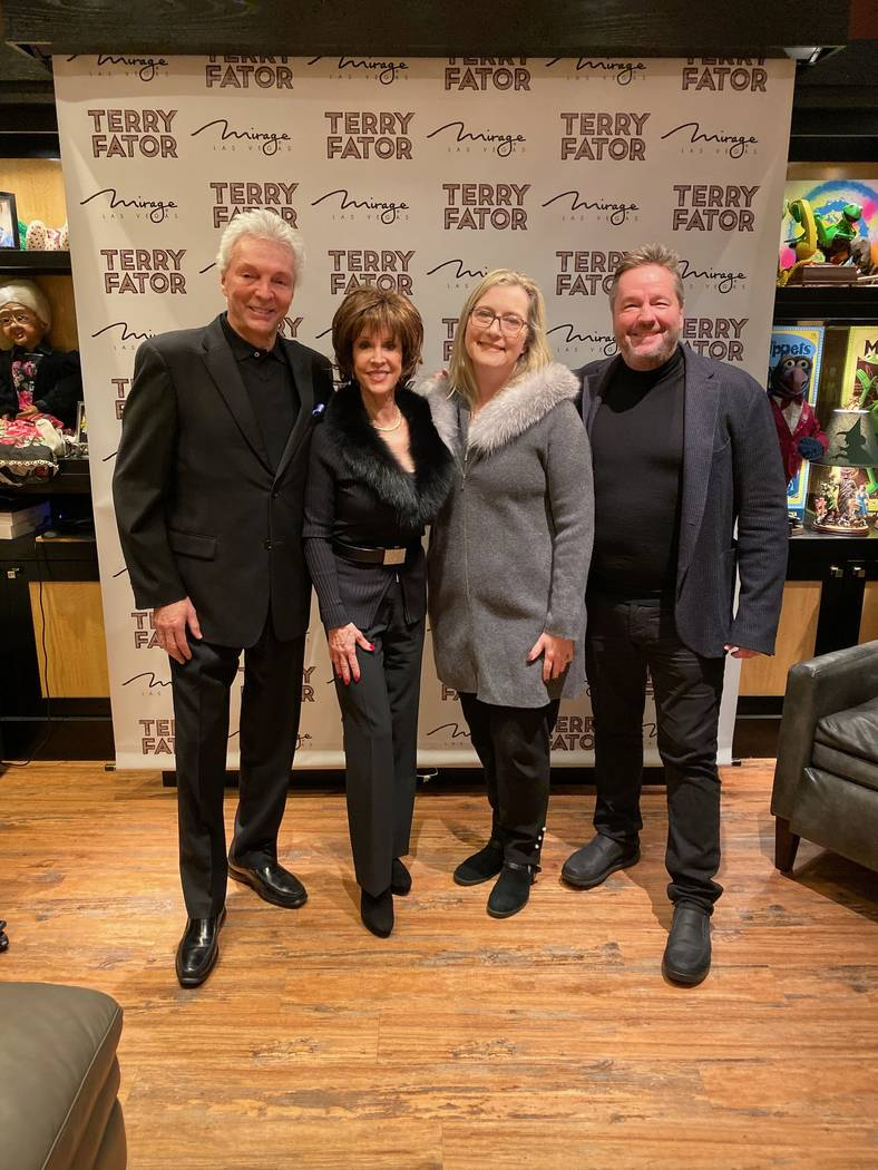 John Griffeths, Deana Martin, Angie Fator and Terry Fator are shown in Terry Fator's dressing r ...