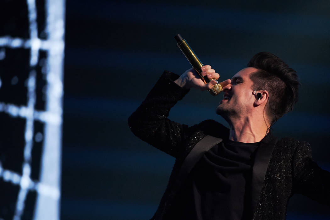 Brendon Urie of Panic! At the Disco is shown in concert at T-Mobile Arena on Saturday, Aug. 18, ...