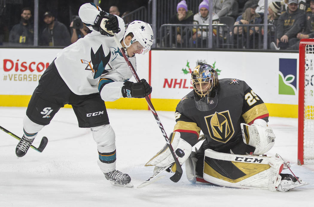 San Jose Sharks left wing Marcus Sorensen (20) shoots on Vegas Golden Knights goaltender Marc-A ...