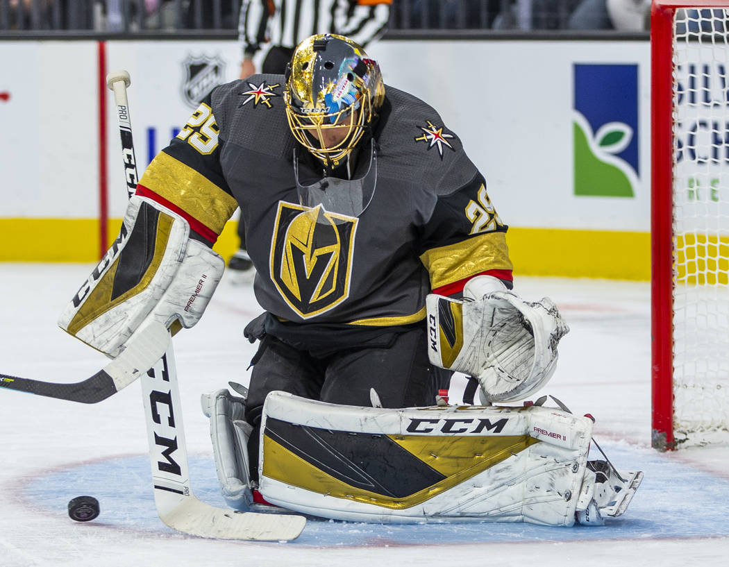 Vegas Golden Knights goaltender Marc-Andre Fleury (29) stops another shot on goal by the Anahei ...