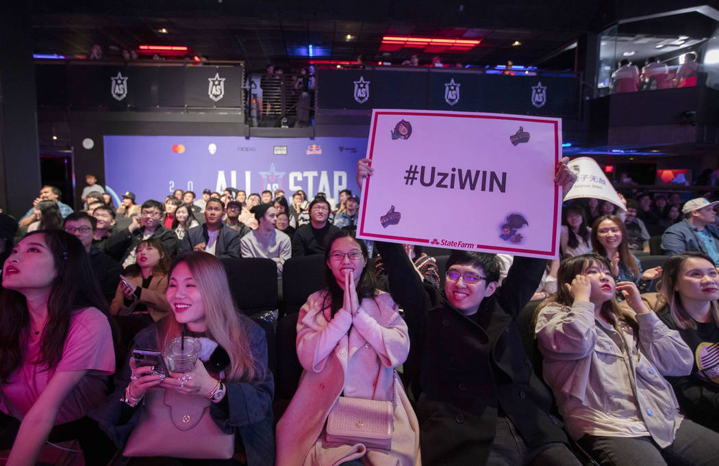The crowd celebrates as Uzi wins against Levi at the League of Legends All-Star Event on Saturd ...