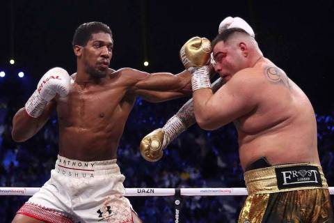 Defending champion Andy Ruiz Jr., right, during his fight against Britain's Anthony Joshua in t ...