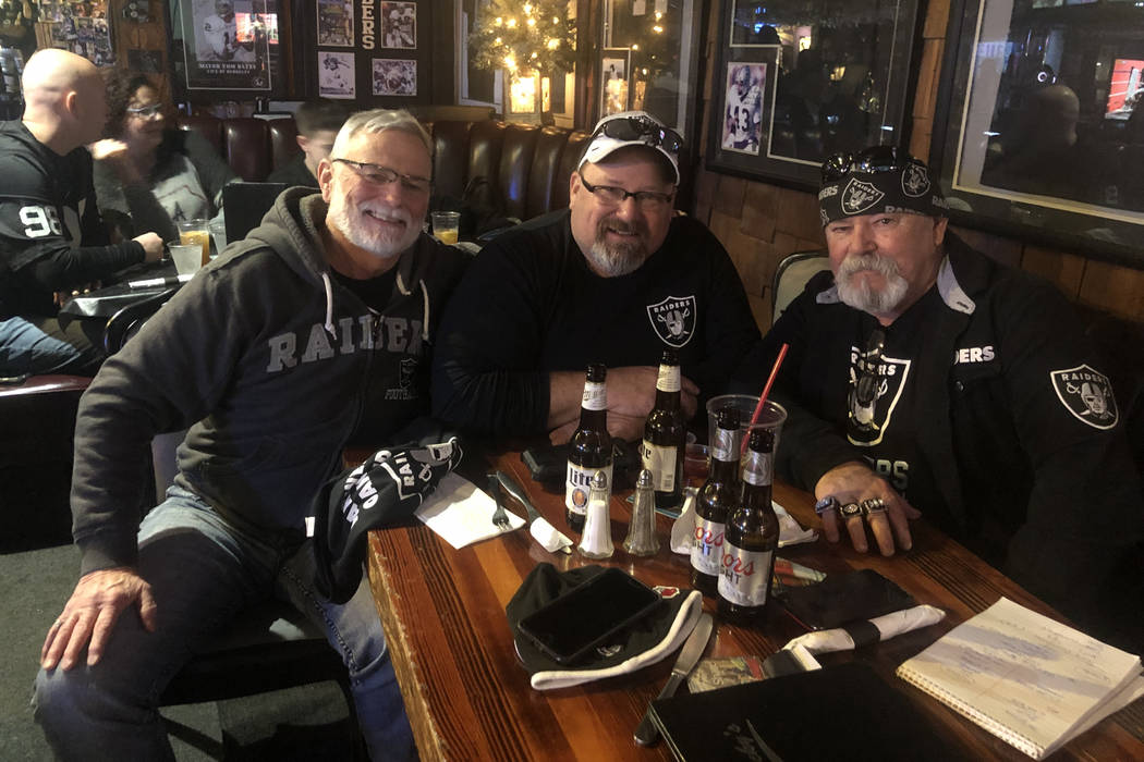 Brothers and lifetime Raiders fans (L-R) Terry, James and Jerry Cunningham gather at Ricky's ...