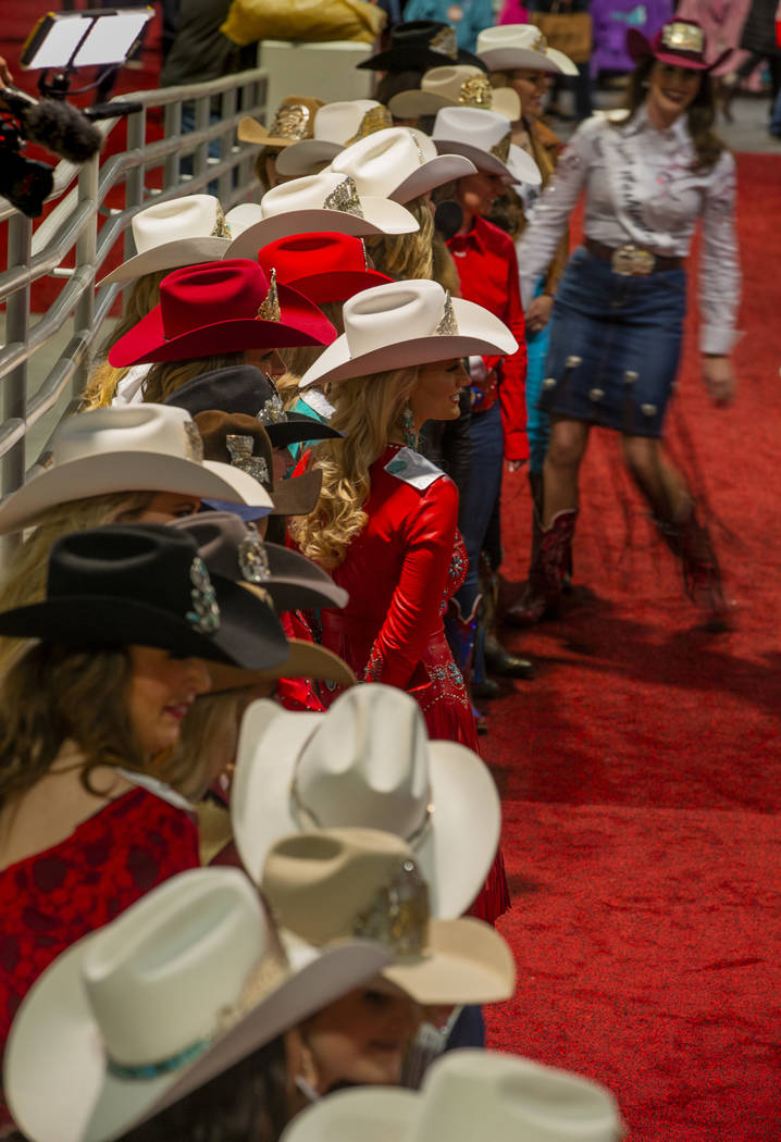 Contestants line up readying for the Miss Rodeo America Justin Boot Parade during Cowboy Christ ...