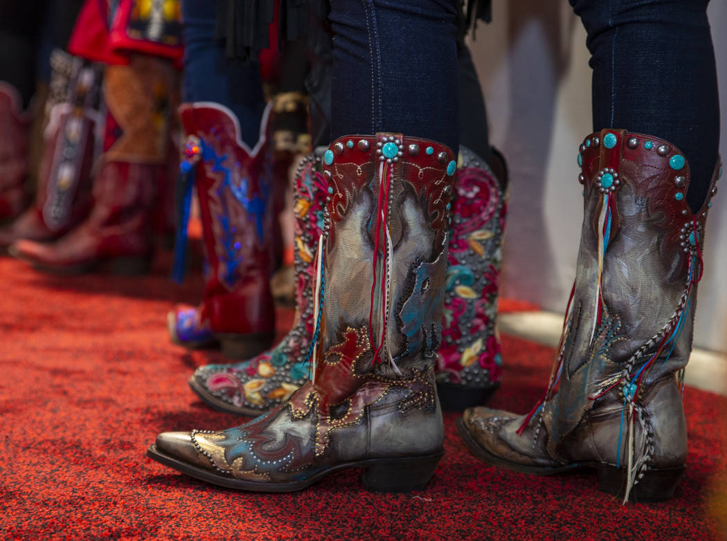 Boots worn and personally designed boots by Carly Peercy of Utah are ready for the Miss Rodeo A ...