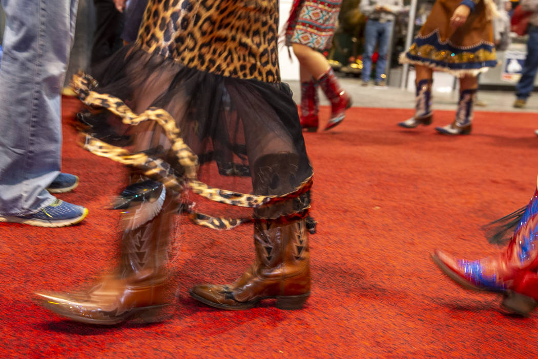 Boots worn and personally designed boots by Kay Marrs of South Dakota move along for the Miss R ...