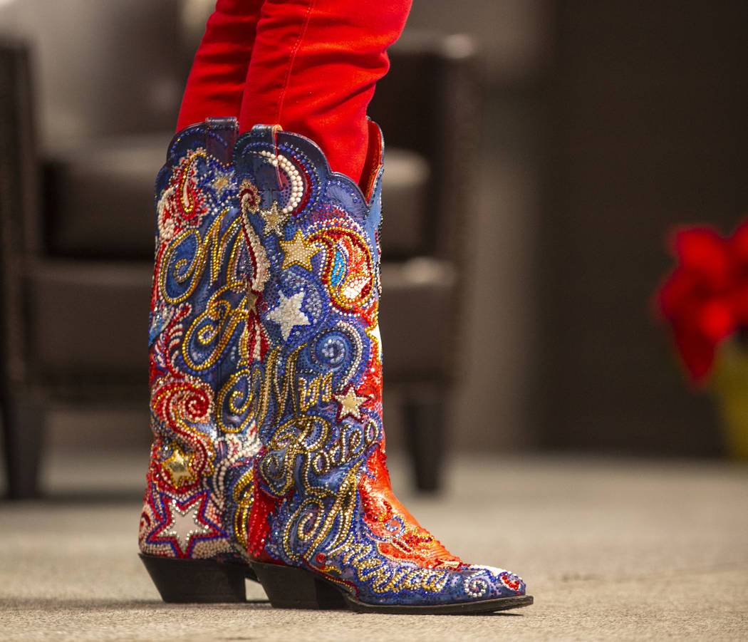 Boots worn by Miss Rodeo America 2019 Taylor McNair of Mississippi who welcomes the auction aud ...