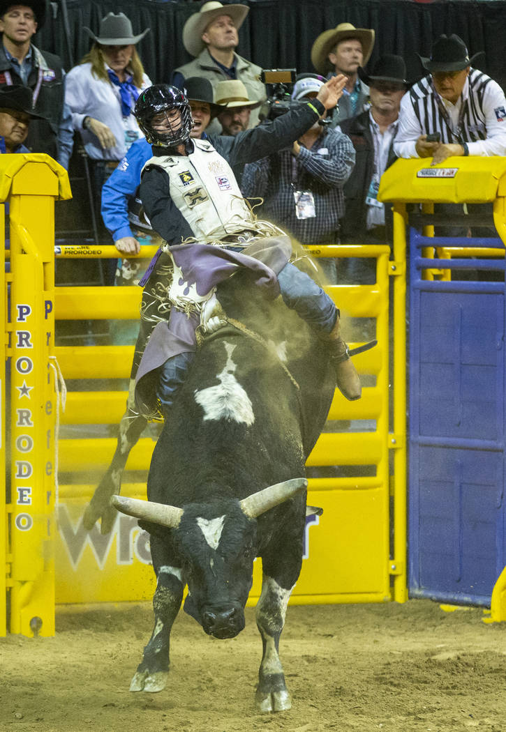 Koby Radley of Montpelier, LA., rides Spotted Demon to first place with a score of 92.0 during ...