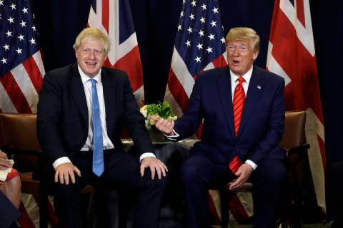 President Donald Trump meets with British Prime Minister Boris Johnson at the United Nations Ge ...