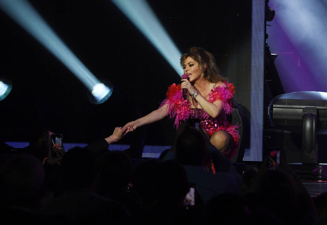 """Shania Twain performs her """"Let's Go"""" residency at Zappos Theater on Friday, Dec. 6, 2019. (Deni ..."""
