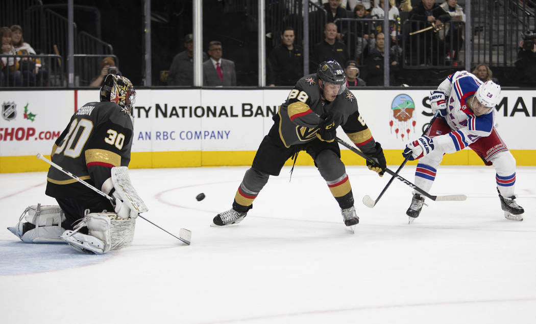 Vegas Golden Knights goaltender Malcolm Subban (30) is about to make a save as Vegas Golden Kni ...
