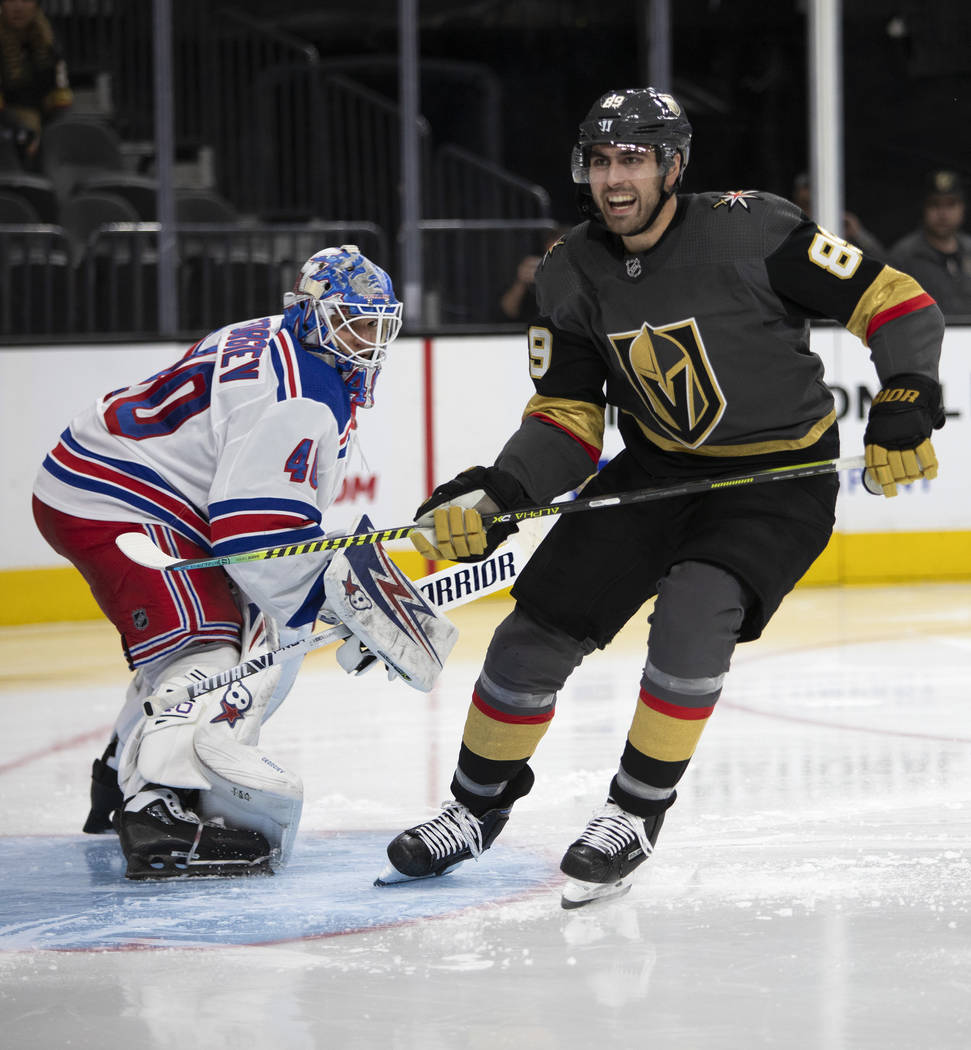 Golden Knights right wing Alex Tuch (89) expresses anger after New York Rangers goaltender Alex ...