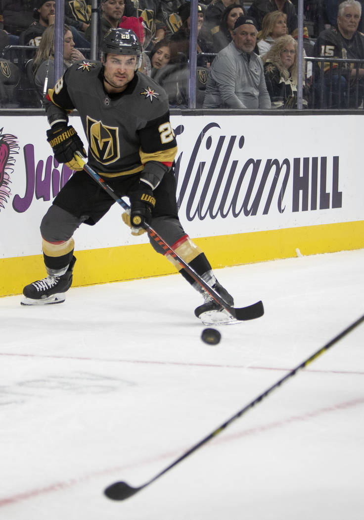 Golden Knights left wing William Carrier (28) receives the puck during the third period of the ...