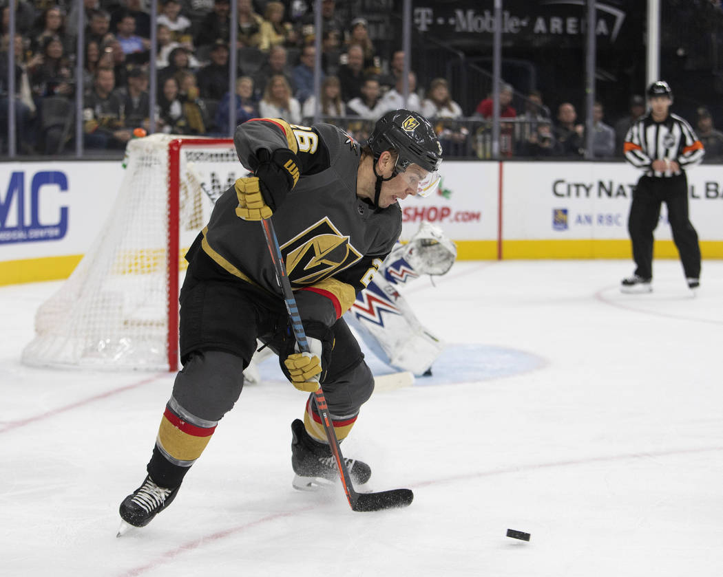 Vegas Golden Knights center Paul Stastny (26) circles around to make a shot on goal against New ...