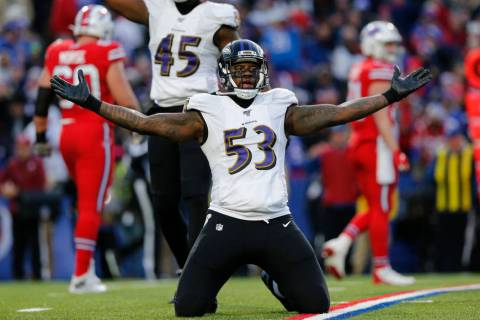 Baltimore Ravens defensive end Jihad Ward (53) celebrates on the field during the second half o ...