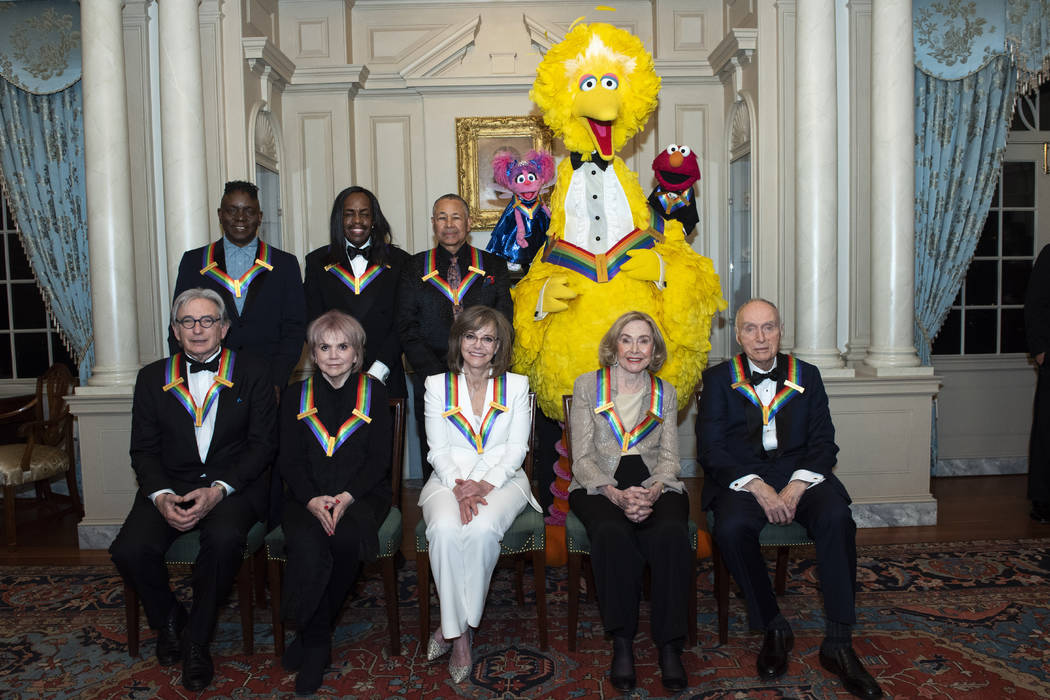 Front row from left, 2019 Kennedy Center Honorees Michael Tilson Thomas, Linda Ronstadt, Sally ...