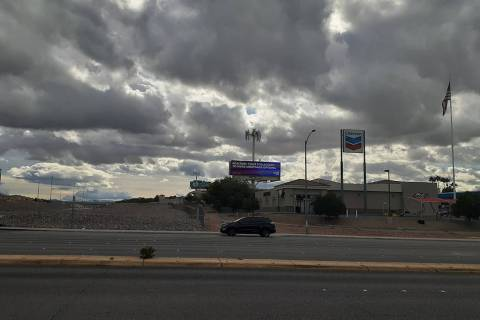 Clouds move in Sunday, Dec. 8, 2019, near Windmill Lane and Interstate 215 in Las Vegas. (Tony ...